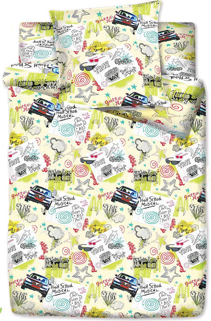 Комплект белья Браво Кидс Граффити, 1,5 спальное, наволочки 70x70, цвет: зеленый. 3791-166643