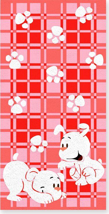 Полотенце махровое НВ Щенки, цвет: розовый, 60 х 120 см. м0567_0271272