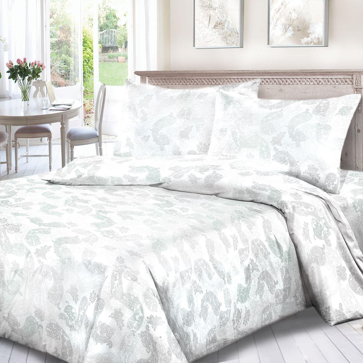 Комплект белья Сорренто Жаккард, евро, наволочки 70x70, цвет: белый. 3558-180275