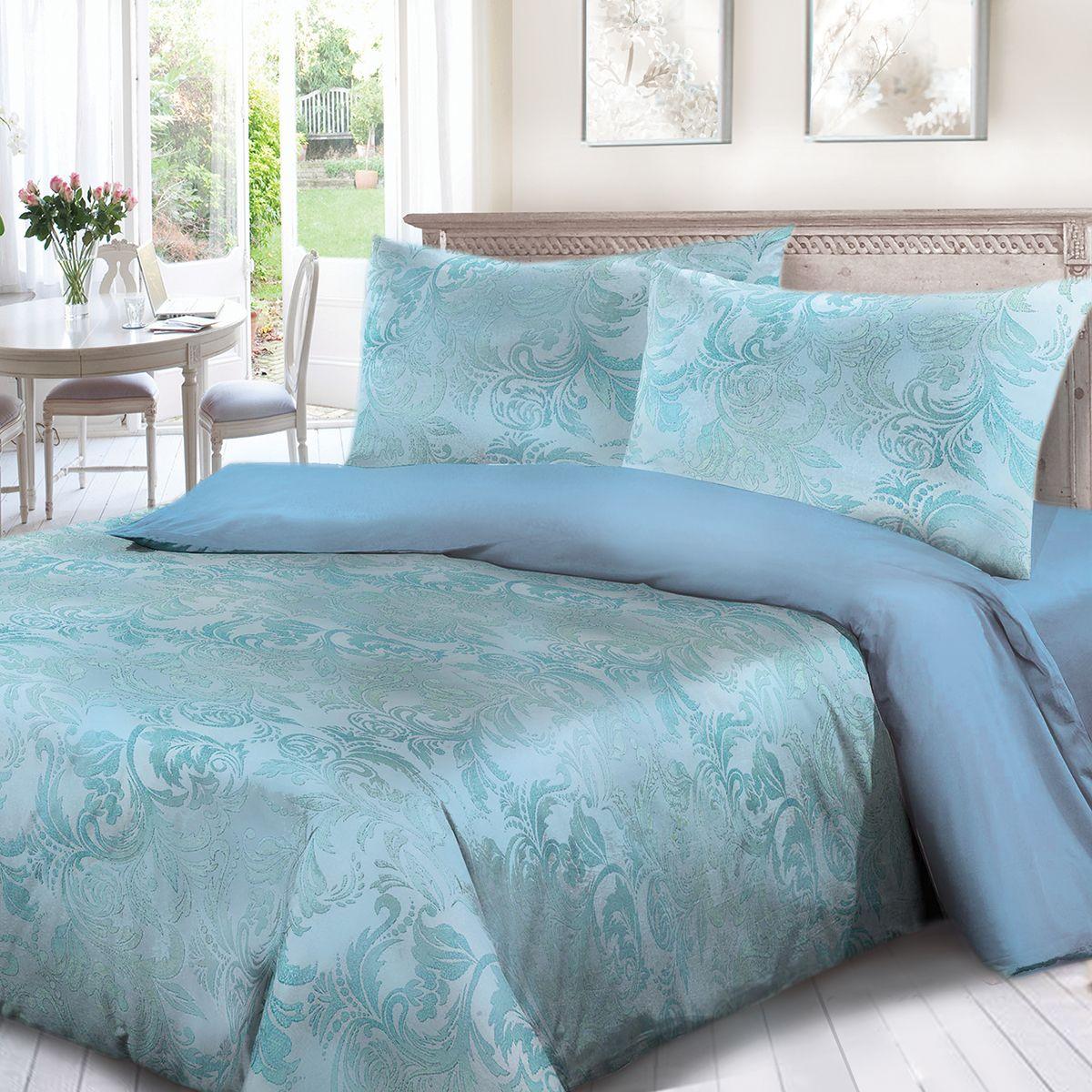 Комплект белья Сорренто Мажор, евро, наволочки 70x70, цвет: голубой. 3963-580280