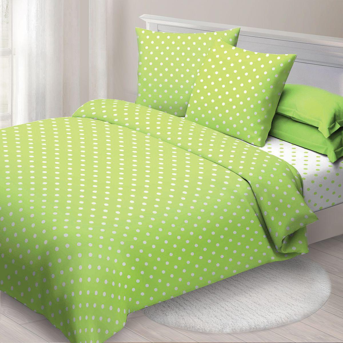 Комплект белья Спал Спалыч Бетти , 1,5 спальное, наволочки 70x70, цвет: зеленый. 4080-182437