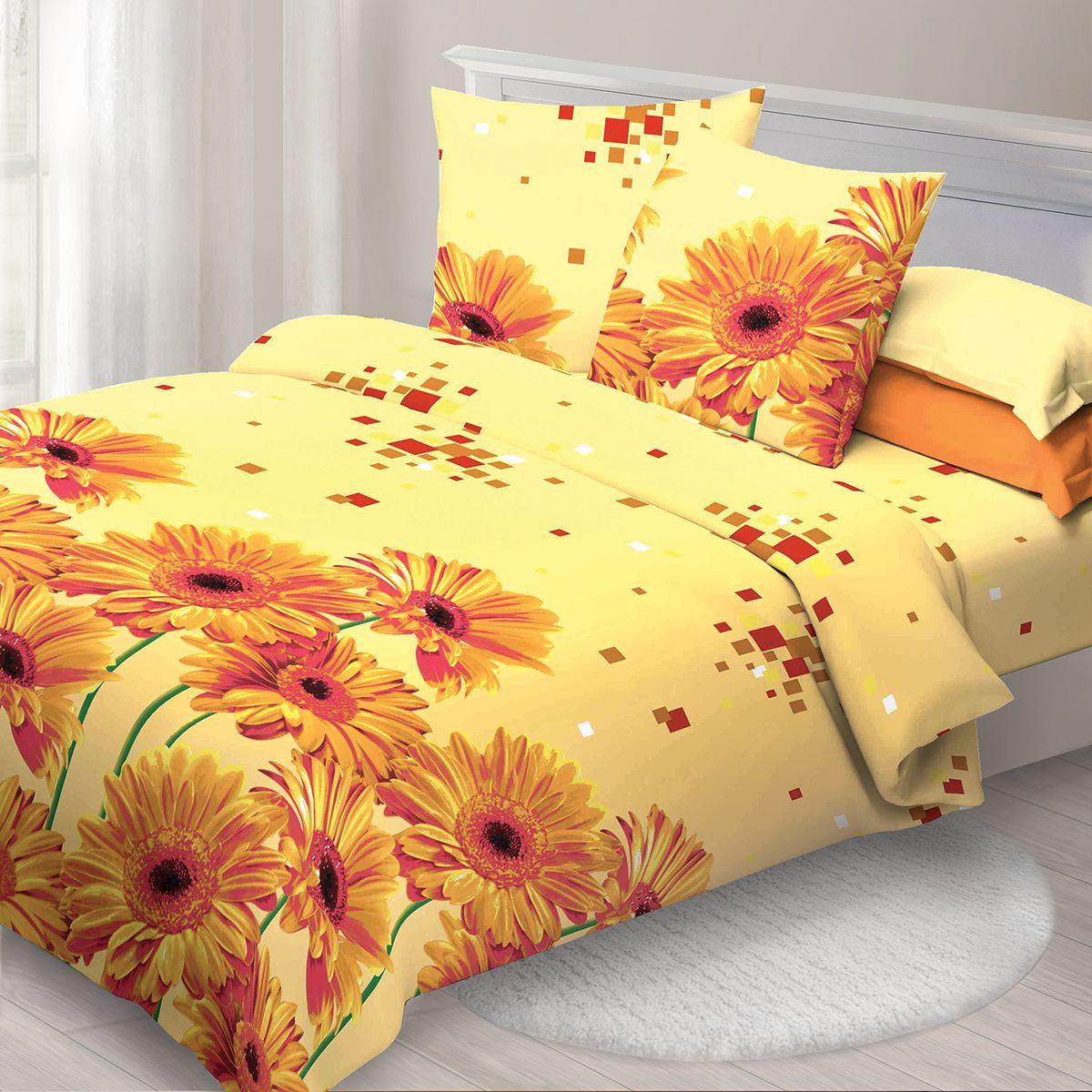 Комплект белья Спал Спалыч Герберы, 1,5 спальное, наволочки 70x70, цвет: оранжевый. 3805-182448