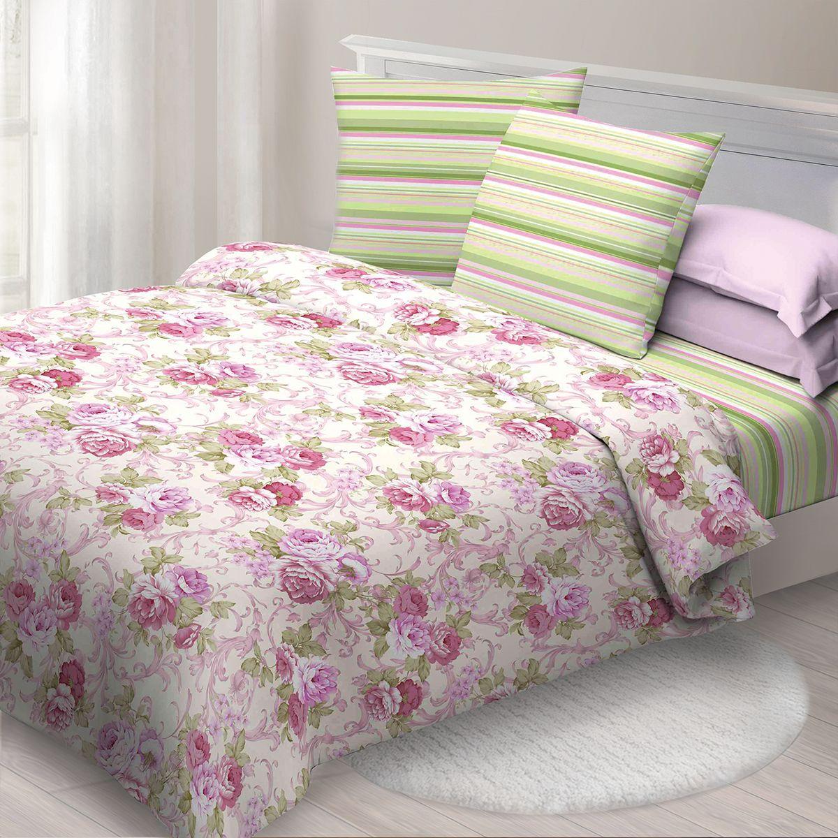 Комплект белья Спал Спалыч Марибэль, евро, наволочки 70x70, цвет: розовый. 1950-184198