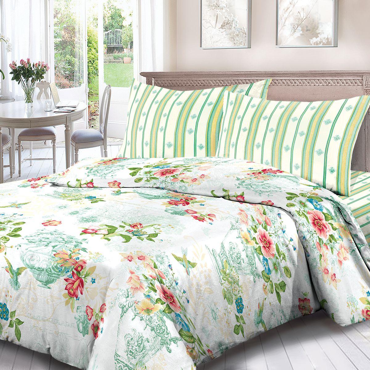 Комплект белья Для Снов Колибри, 2-х спальное, наволочки 70x70, цвет: зеленый. 1812-184454