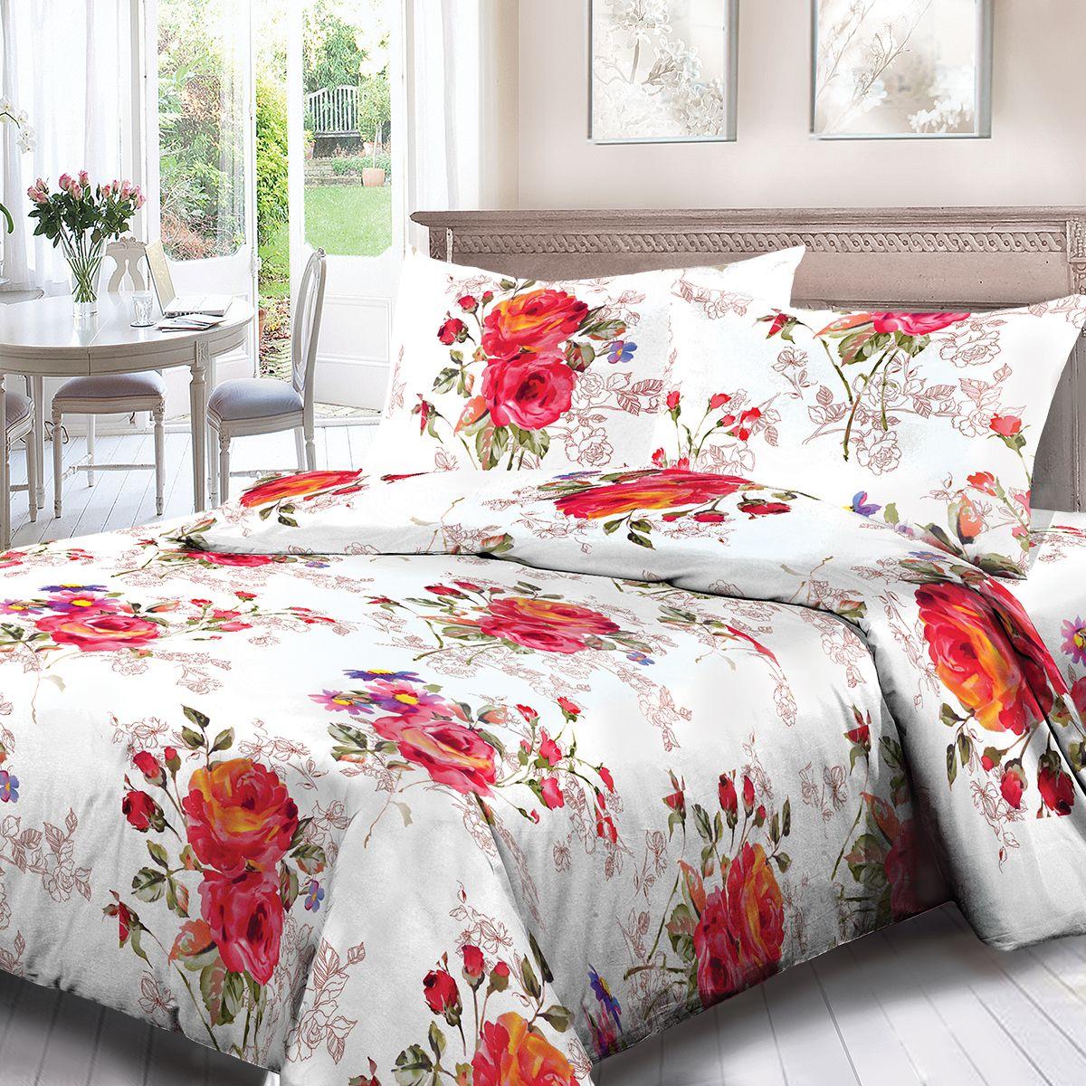 Комплект белья Для Снов Верда, 2-х спальное, наволочки 70x70, цвет: красный. 4066-184457