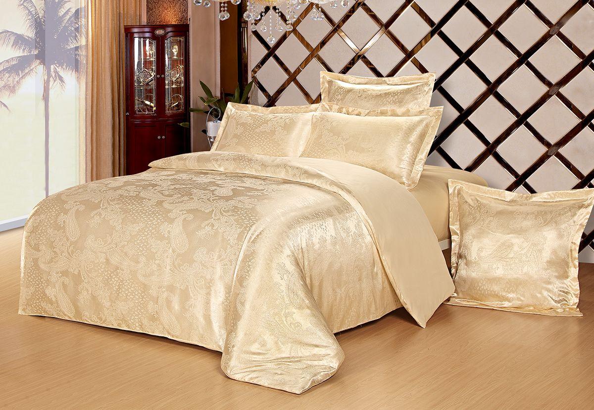Комплект белья Versailles Дели, 2-спальный, наволочки 50x70, цвет: золотойDAVC150Комплект постельного белья Versailles изготовлен из сатина, сотканного из хлопка с добавлением вискозных волокон. Белье дарит приятные тактильные ощущения на протяжении всего сна, а уникальные жаккардовые узоры придают танки мягкий блеск и обеспечивают материалу особую прочность. Постельное белье Versailles - отличный подарок на любое торжество и идеальный выбор для взыскательных покупателей. Комплект состоит из пододеяльника, простыни и двух наволочек. Состав: хлопок 70%, вискоза 30%