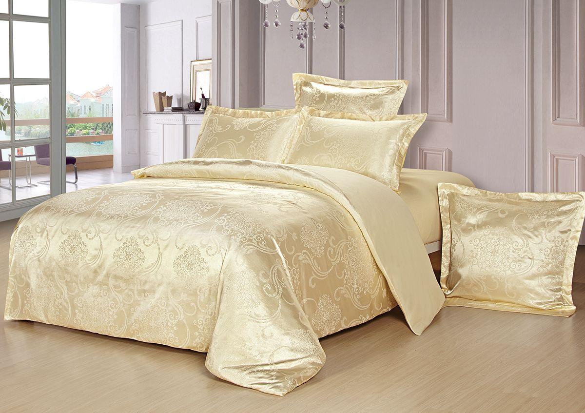 Комплект белья Versailles Монро, евро, наволочки 50x70, цвет: желтыйS03301004Комплект постельного белья Versailles изготовлен из сатина, сотканного из хлопка с добавлением вискозных волокон. Белье дарит приятные тактильные ощущения на протяжении всего сна, а уникальные жаккардовые узоры придают танки мягкий блеск и обеспечивают материалу особую прочность. Постельное белье Versailles - отличный подарок на любое торжество и идеальный выбор для взыскательных покупателей. Комплект состоит из пододеяльника, простыни и четырех наволочек. Состав: хлопок 70%, вискоза 30%