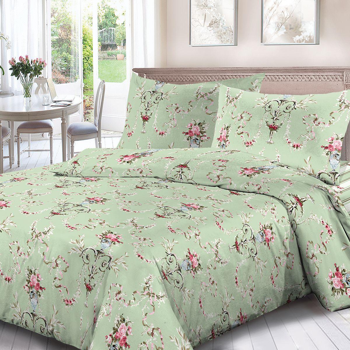 Комплект белья Для Снов Катарина, 2-х спальное, наволочки 70x70, цвет: зеленый. 1841-286455