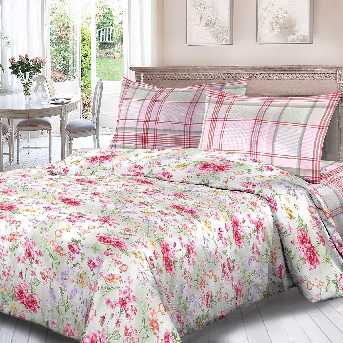 Комплект белья Для Снов Аннет, 1,5 спальное, наволочки 70x70, цвет: розовый. 3599-186486
