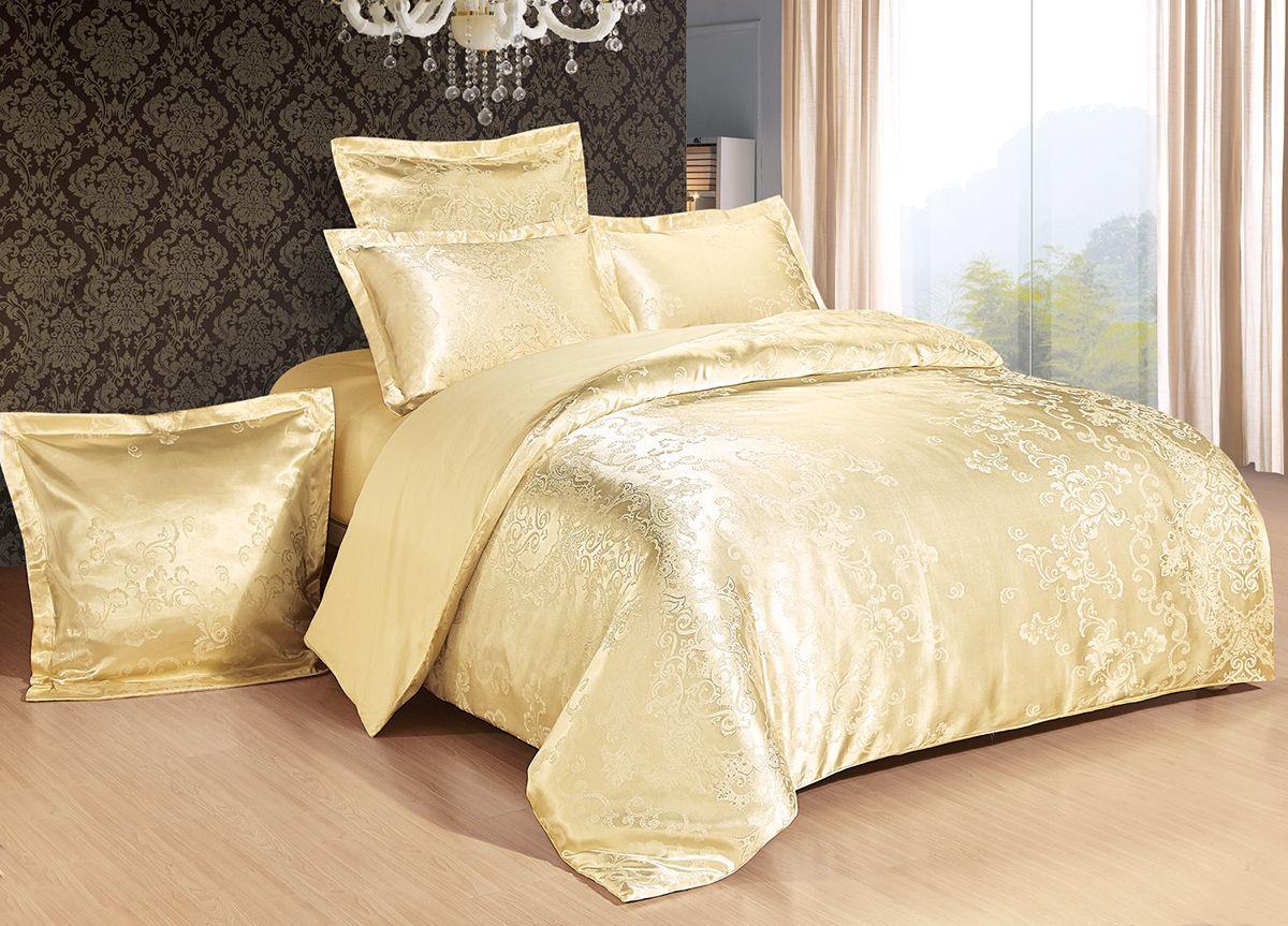 Комплект белья Versailles Клара, 2-спальный, наволочки 50x70, цвет: золотойDAVC150Комплект постельного белья Versailles изготовлен из сатина, сотканного из хлопка с добавлением вискозных волокон. Белье дарит приятные тактильные ощущения на протяжении всего сна, а уникальные жаккардовые узоры придают танки мягкий блеск и обеспечивают материалу особую прочность. Постельное белье Versailles - отличный подарок на любое торжество и идеальный выбор для взыскательных покупателей. Комплект состоит из пододеяльника, простыни и двух наволочек. Состав: хлопок 70%, вискоза 30%