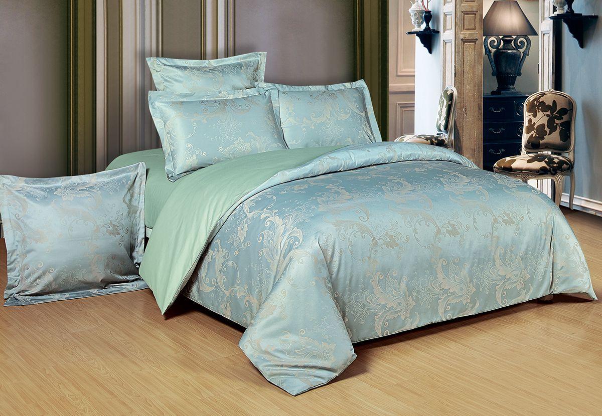Комплект белья Versailles Ричи, 2-спальное, наволочки 50x70, цвет: голубой86680Коллекция Versailles относится к продукции класса люкс. Постельное белье из сатина, сотканного из хлопка с добавлением вискозных волокон дарит приятные тактильные ощущения на протяжении всего сна, а уникальные жаккардовые узоры придают танки мягкий блеск и обеспечивают материалу особую прочность. Постельное белье «Versailles» - отличный подарок на любое торжество и идеальный выбор для взыскательных покупателей . Состав: Хлопок 70%, вискоза 30%