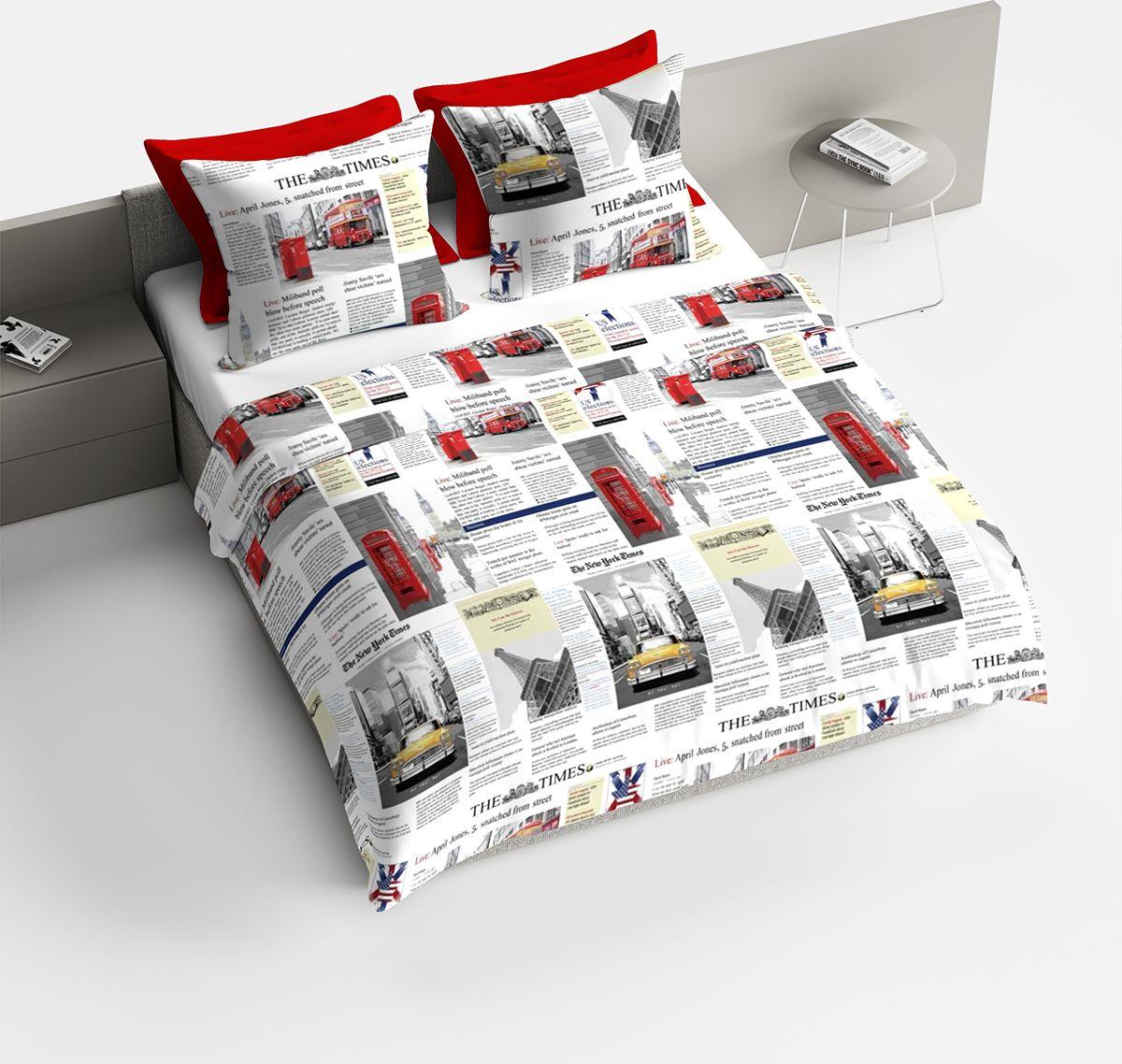 Комплект белья Браво Таймс, 1,5 спальное, наволочки 70x70, цвет: красный. 3687-187738