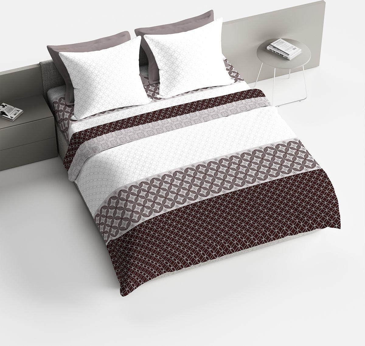 Комплект белья Браво Мокко, евро, наволочки 70x70, цвет: коричневый. 4077-187745