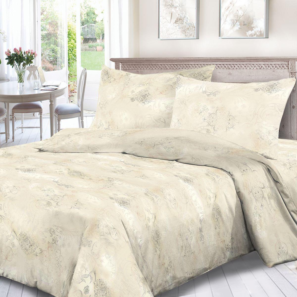 Комплект белья Сорренто Шелковый путь, 1,5 спальное, наволочки 70x70, цвет: бежевый. 3891-187886