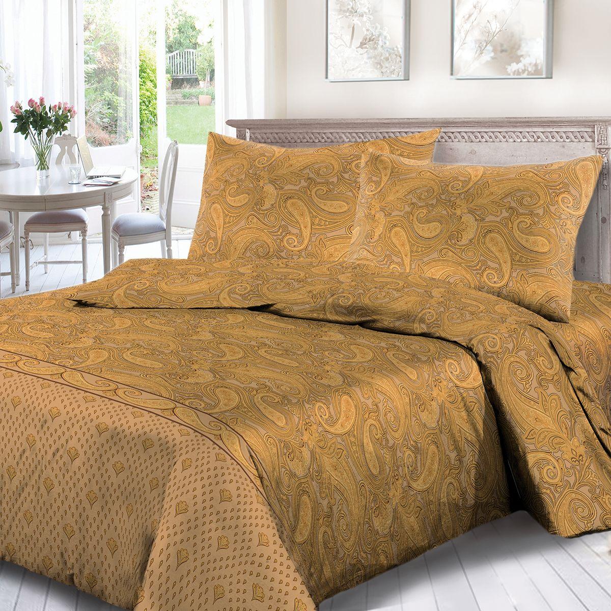 Комплект белья Сорренто Тадж Махал, евро, наволочки 70x70, цвет: коричневый. 1753-189096