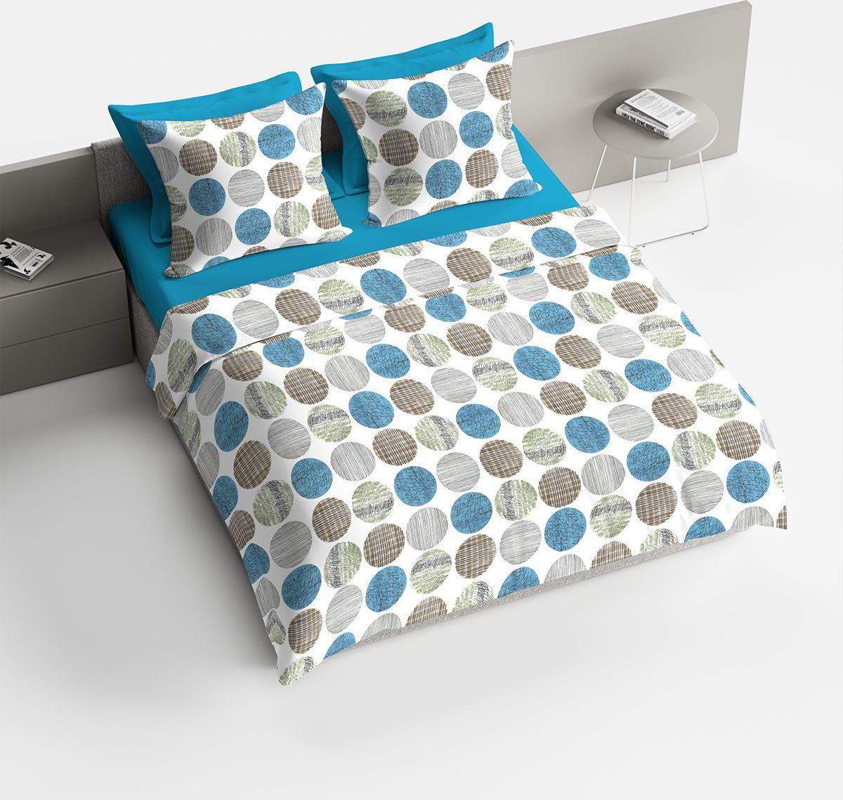 Комплект белья Браво Раунд, 2-х спальное, наволочки 70x70, цвет: бирюзовый. 4095-189761