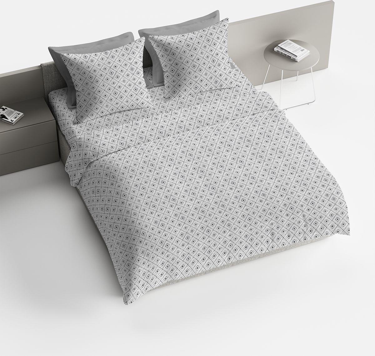 Комплект белья Браво Франко, евро, наволочки 70x70, цвет: серый. 4096-189766