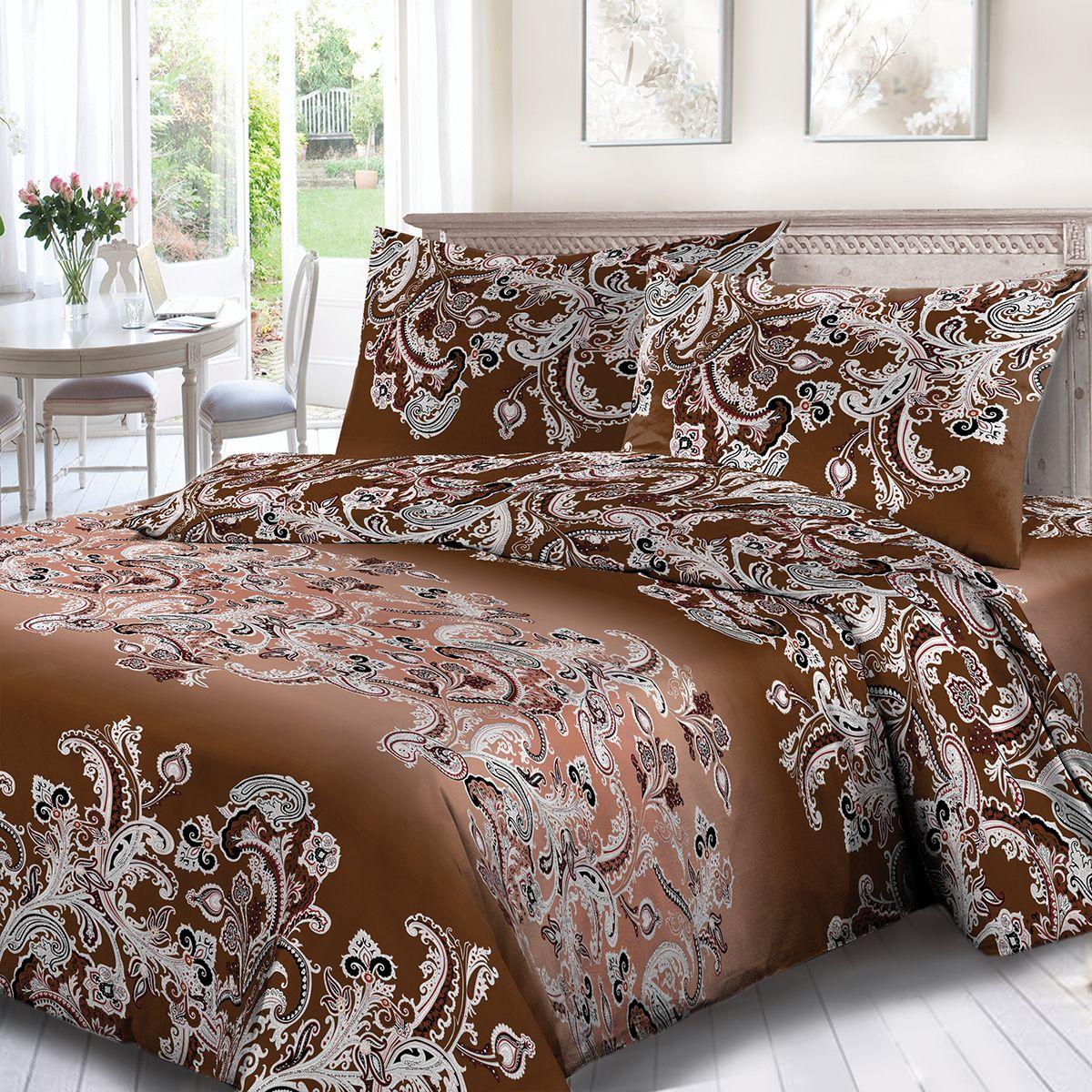 Комплект белья Сорренто Вензели, евро, наволочки 70x70, цвет: коричневый. 3889-190237