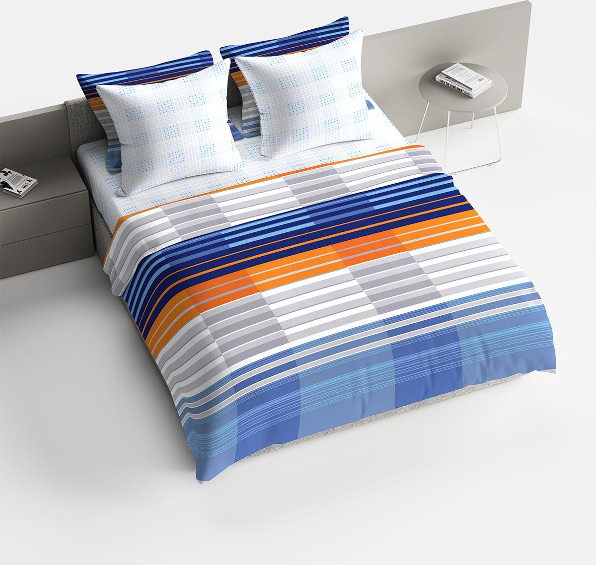 Комплект белья Браво Марино, 2-спальное, наволочки 70x70, цвет: синий91924Комплекты постельного белья из ткани LUX COTTON (высококачественный поплин), сотканной из длинноволокнистого египетского хлопка, созданы специально для людей с оригинальным вкусом, предпочитающим современные решения в интерьере. Обновленная стильная упаковка делает этот комплект отличным подарком. • Равноплотная ткань из 100% хлопка; • Обработана по технологии мерсеризации и санфоризации; • Мягкая и нежная на ощупь; • Устойчива к трению; • Обладает высокими показателями гигроскопичности (впитывает влагу); • Выдерживает частые стирки, сохраняя первоначальные цвет, форму и размеры; • Безопасные красители ведущего немецкого производителя BEZEMA