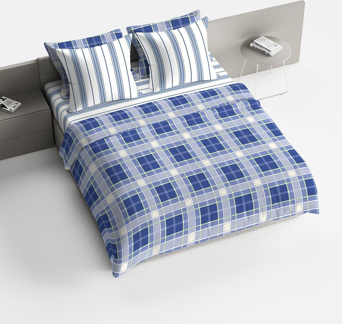 Комплект белья Браво Джузеппе, 1,5-спальное, наволочки 70x70, цвет: синий91935Комплекты постельного белья из ткани LUX COTTON (высококачественный поплин), сотканной из длинноволокнистого египетского хлопка, созданы специально для людей с оригинальным вкусом, предпочитающим современные решения в интерьере. Обновленная стильная упаковка делает этот комплект отличным подарком. • Равноплотная ткань из 100% хлопка; • Обработана по технологии мерсеризации и санфоризации; • Мягкая и нежная на ощупь; • Устойчива к трению; • Обладает высокими показателями гигроскопичности (впитывает влагу); • Выдерживает частые стирки, сохраняя первоначальные цвет, форму и размеры; • Безопасные красители ведущего немецкого производителя BEZEMA