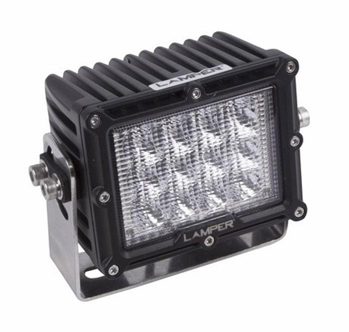 Фара автомобильная Lamper, светодиодная, 60 W80-1059Напряжение: 9-48 Вольт Мощность: 60W Модель светодиода: CREE Кол-во светодиодов: 12 шт. Световой поток: 3600 Люмен Температура свечения: 5500 Кельвинов Рабочий ток при 12/24V: 2,5/1,25A Световой поток: рассеянный Подключение: водонепроницаемый разъём 2pin Крепление: болт 10мм Виброустойчивость: 10-2000Hz Линзы: ударопрорчный поликарбонат Корпус: алюминиевый сплав Размеры: 135 x 89 x 105 Пыле-влагозащищенность: IP-67 (6-полная защита от пыли,8K-полная защита от воды, выдерживает высокое давление воды во время мойки) Рабочая температура: от -40С до +105С Срок службы: 50 000 часов