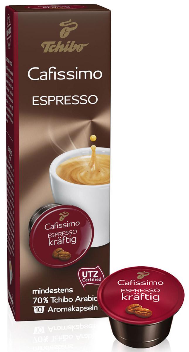 Cafissimo Espresso Kraftig кофе в капсулах, 10 шт464522Cafissimo познакомит вас с изысканным кофе, собранным на превосходных кофейных плантациях. Каждая кофейная капсула Tchibo содержит гармоничную композицию из лучших зерен Arabica и насыщенных зерен Robusta, которые медленно вызревали на солнечных полях. Тщательно отобранные для вас профессионалами и прошедшие индивидуальную обжарку зерна Tchibo при варке идеально раскрывают терпкий аромат, насыщенный вкус Espresso kraftig. Уважаемые клиенты! Обращаем ваше внимание на то, что упаковка может иметь несколько видов дизайна. Поставка осуществляется в зависимости от наличия на складе.