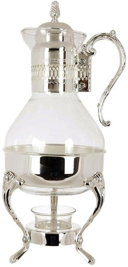 Чайник заварочный Marquis, 1,6 л. 8011-MR8011-MRЧайник с подогревом станет отличным украшением праздничного стола. Чайник с подогревом Marquis, изготовленный из стекла и стали с серебряно-никелевым покрытием, позволит вам довольно длительное время сохранять температуру воды. Ножки и ручка декорированы белыми стразами. Действие подогрева основано на принципе водяной бани. Чайник расположен на подставке, на которой установлена свеча, нагревающая воду. Характеристики: Материал: сталь с серебряно-никелевым покрытием, стекло, стразы. Объем: 1,6 л. Состав: нержавеющая сталь с никель-серебряным покрытем (гальваника). Уход: Сухая чистка либо протирать влажной тряпочкой без использования абразивных средств.
