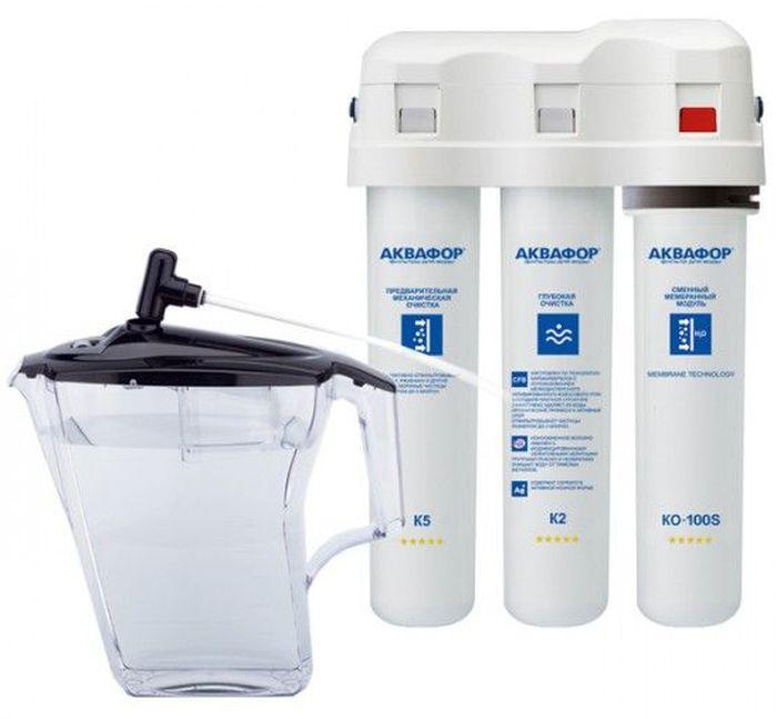 Водоочиститель Аквафор ОСМО DWM-31DWM-31 (c КР5)Фильтр для воды Аквафор DWM-31 Аквафор DWM-31 – это самая свежая питьевая вода без вредных примесей и проблем с накипью Как и все фильтры обратного осмоса, DWM-31 полностью очищает воду от солей жесткости. Очищенная вода (мягкая вода) подходит для использования в кофе-машине, чайнике и мультиварке, поскольку не образует накипи, и тем самым защищает чувствительную технику от поломки. На этапе минерализации DWM-31 обогащает воду природным магнием в оптимальной концентрации. Фильтр не только устраняет все вредные примеси из водопроводной воды любого качества, но и делает воду полезной для здоровья. С DWM-31 у вас всегда под рукой 2,5 литра чистой, мягкой воды, которая подходит для приготовления безопасного детского питания, вкусного чая, кофе и супов. Вам подойдет Аквафор DWM-31, если вы ищите самый компактный и простой в обращении фильтр обратного осмоса. У данной модели нет накопительного бака, как у традиционных фильтров обратного осмоса. За счет этого экономится...