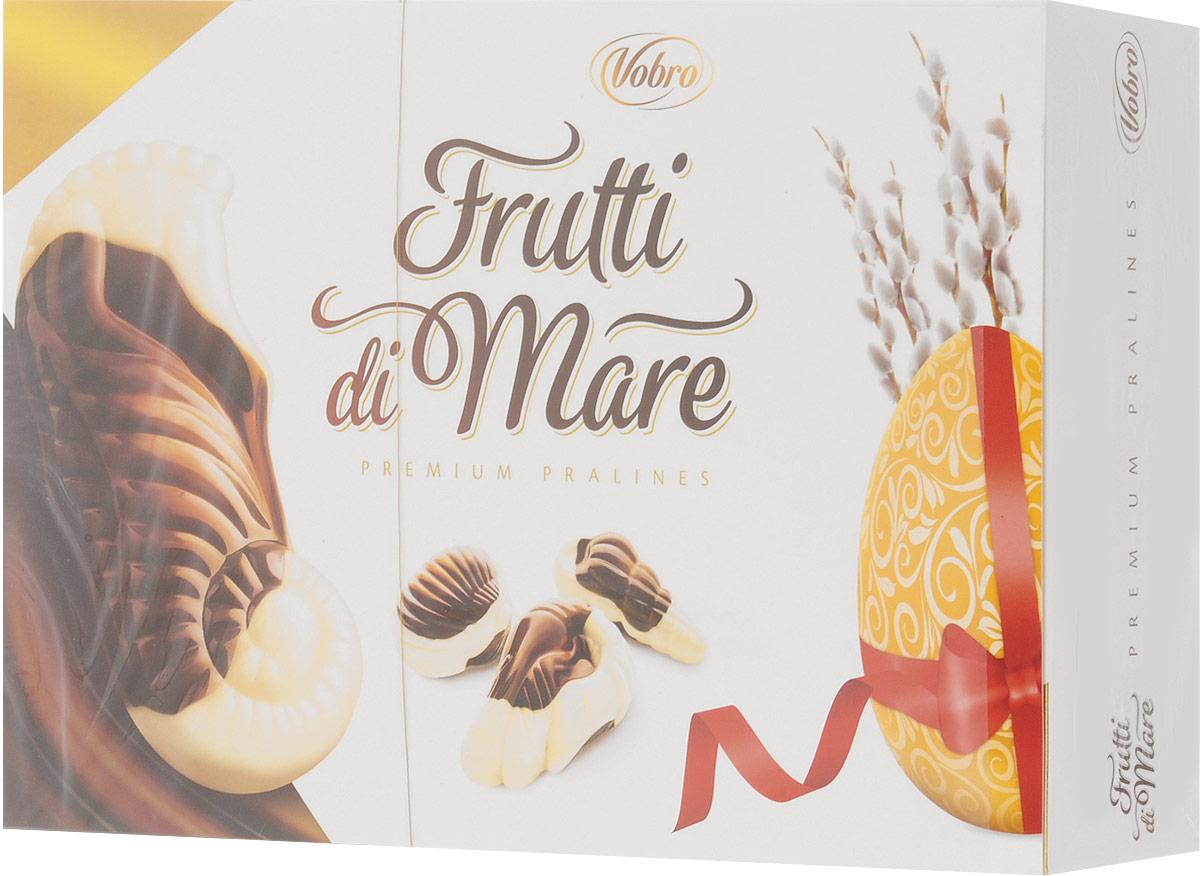 Vobro Frutti di Mare набор шоколадных конфет в виде морских ракушек, 350 г13863_пасхальный дизайнVobro Frutti di Mare - это конфеты, в виде морских обитателей, из темного и белого шоколада, начиненный четырьмя начинками со вкусами: какао, ореховым, молочным и тоффи. Эти шоколадные ракушки с разным вкусом надолго оставляют приятные вкусовые впечатления, а их дополнительным достоинством является их неповторимая форма. Вместе образуют прекрасный сладкий подарок