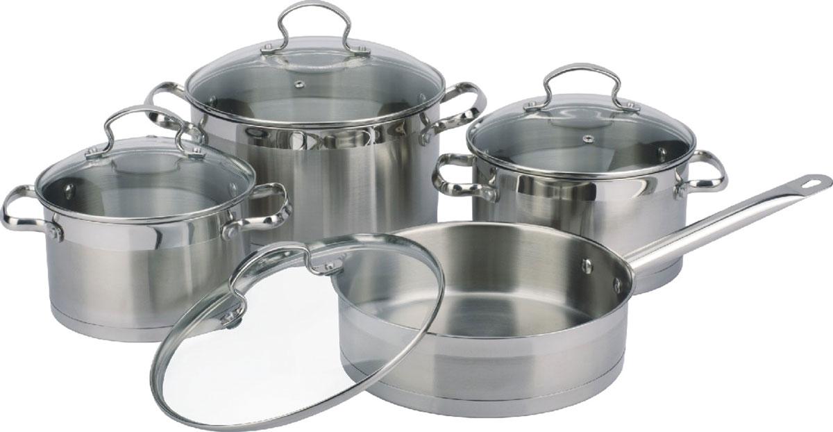 Набор посуды Bekker Premium, 8 предметовBK-2574В набор входит 8 предметов: 3 кастрюли 3,5 л (20 см), 4,6 л (22 см), 5,9 л (24 см), сковорода 3 л (24 см), крышки стеклянные, ручки из нержавеющей стали, капсульное дно, поверхность матовая с зеркальной полосой. Состав: нержавеющая сталь.