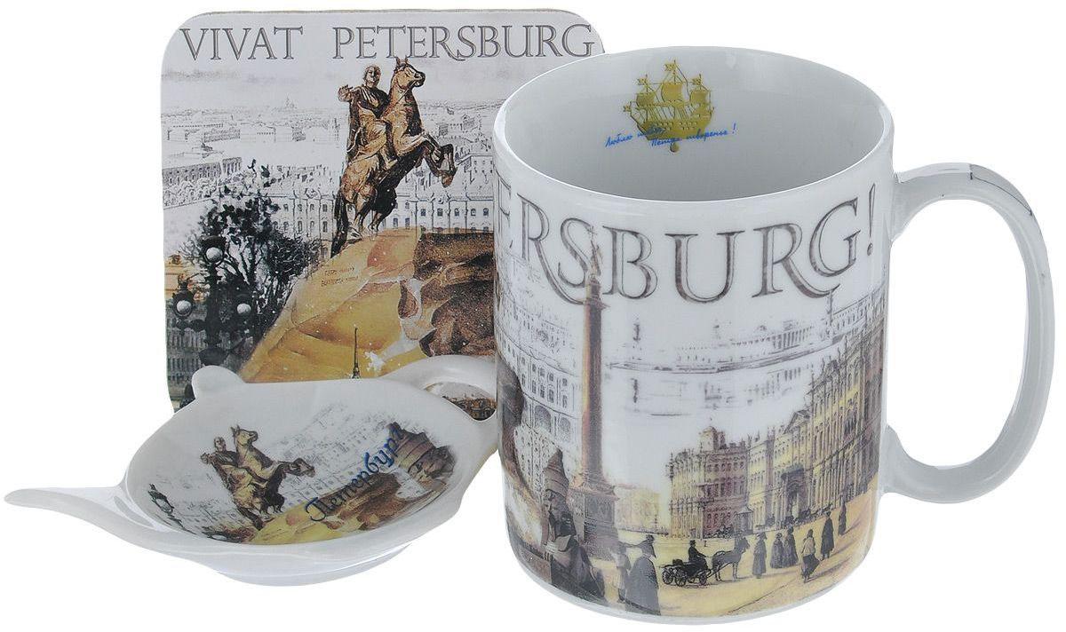 Набор чайный GiftnHome Виват Петербург, 330 мл, 3 предмета115510Блюдце и кружка изготовлены из фарфора, подставка - пробка