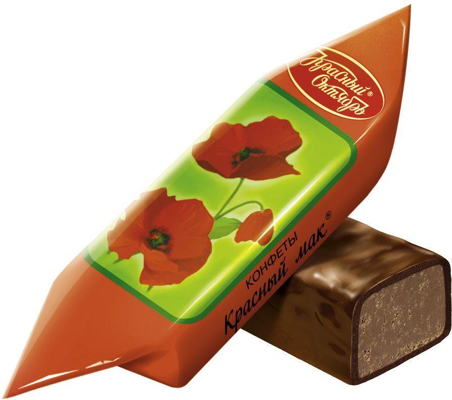 """Красный Октябрь """"Красный мак"""" конфеты с пралине с добавлением дробленой карамели и вафель в шоколадной глазури, 250 г КО04618"""