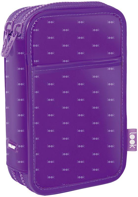 Milan Пенал Look цвет фиолетовый 081264LKPL72523WDПенал с двумя отделениями на молнии. Размер – 200x125x50 мм. Материал - полиэстер. Поставляется с наполнением: фломастеры 18 цветов (серия 631), цветные карандаши 12 цветов (серия 231), два ластика, автоматическая ручка, точилка, чернографитный карандаш HB, линейка 15 см.