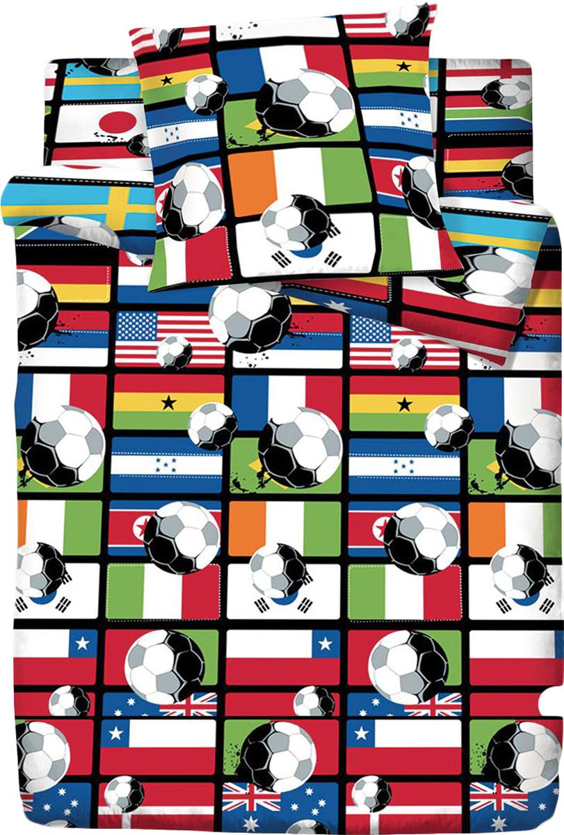 Комплект белья Браво Кидс Футбол, 1,5-спальное, наволочки 70x70, цвет: разноцветный68735BRAVO Kids Dreams - линейка постельного белья для детей и подростков из прекрасной ткани LUX COTTON (высококачественный поплин). Это современные забавные и яркие дизайны, которые украсят любой интерьер детской комнаты и долго будут радовать своих обладателей высоким качеством и отличным внешним видом. • Равноплотная ткань из 100% хлопка; • Обработана по технологии мерсеризации и санфоризации; • Мягкая и нежная на ощупь; • Устойчива к трению; • Обладает высокими показателями гигроскопичности (впитывает влагу); • Выдерживает частые стирки, сохраняя первоначальные цвет, форму и размеры; • Безопасные красители ведущего немецкого производителя BEZEMA • Лауреат премии Золотой медвежонок