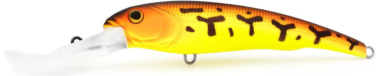 Воблер плавающий Atemi Predator Special, цвет: red tiger, длина 15,5 см, вес 47 г, заглубление 9 м218032Плавающий воблер Atemi Predator Special специально создан для ловли хищных рыб в весенне-летний период. Идеально подходит в качестве приманки для щуки и сома, для ловли которых необходимо брать наживку большого размера примерно от 12 см летом. Чем глубже водоем, тем более увесистая наживка вам потребуется. Заглубление и вес приманки делают ее прекрасным выбором для рыбалки на глубоких водоемах. Рекомендуется для ловли - щуки, окуня, форели, басса, язя, голавля, желтоперого судака, жереха.Заглубление: 9 м.