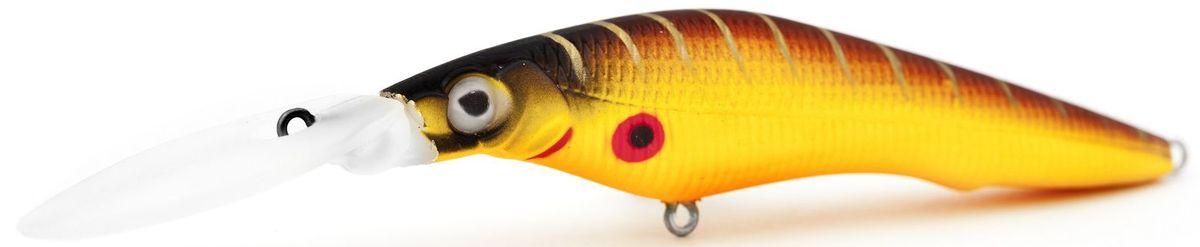 Воблер плавающий Atemi Deep Black Widow, цвет: mat tiger, длина 9 см, вес 13,8 г, заглубление 4,5 м218032Плавающий воблер Atemi Deep Black Widow рекомендуется для ловли щуки, окуня, форели, басса, язя, голавля, желтоперого судака, жереха. Необходимое условие для ловли на воблер - чтобы вы использовали правильно подобранную снасть: легкий и чувствительный спиннинг, крошечные застежки и вертлюжки, самую тонкую леску, которой сможете управлять приманкой, чтобы обеспечить ей наилучшую работу. Воблер также хорошо работает при ловле рыбы против течения, проводите приманку по более глубоким местам, там, где чаще стоят в засаде более крупные экземпляры. Эта приманка превосходна для ловли рыбы, если ее забрасывать вверх по течению, только обеспечивайте скорость проводки немного быстрее, чем скорость течения. Для озер Atemi Deep Black Widow и водохранилищ является наилучшей приманкой как для троллинга, так и для ловли в заброс.Заглубление: 4,5 м.