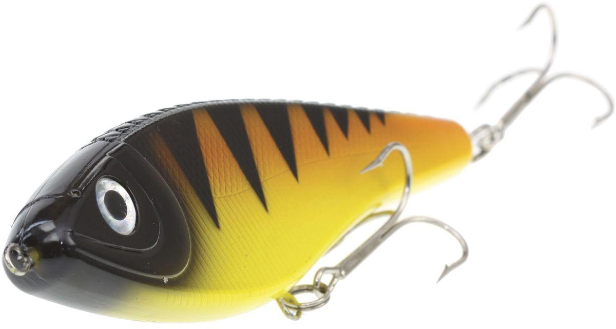 Джеркбейт Blind Derky Jerk, цвет: оранжевый, черный, желтый, длина 15 см, вес 70 г03/1/12Джеркбейт Blind Derky Jerk - это приманка, для которой характерна проводка с чередованием рывков и остановок, в противном случае изделие из-за большого веса и размера пойдет ко дну. Подобная скачкообразная игра привлекает хищных рыб и выманивает их с глубины. Рекомендуется для ловли - щуки, окуня, форели, басса, язя, голавля, желтоперого судака, жереха.