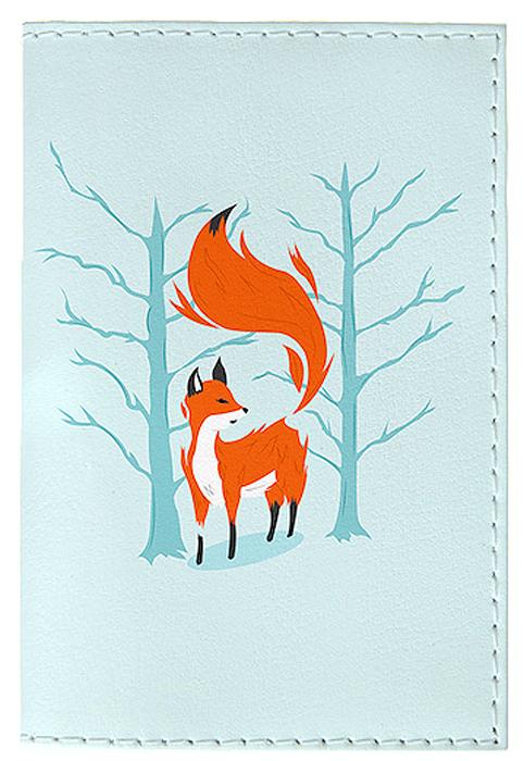 Обложка для автодокументов женская Mitya Veselkov Лиса в лесу, цвет: голубой. AUTO392AUTO392