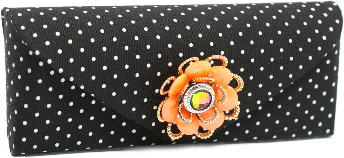 Футляр для очков женский Mitya Veselkov, цвет: оранжевый. JL192col.5orJL192col.5orСтильный футляр для очков Mitya Veselkov изготовлен из текстиля. Оформлено изделие стильным принтом в горох и оригинальным декоративным цветком. Футляр подойдет для солнечных очков и очков для коррекции зрения.