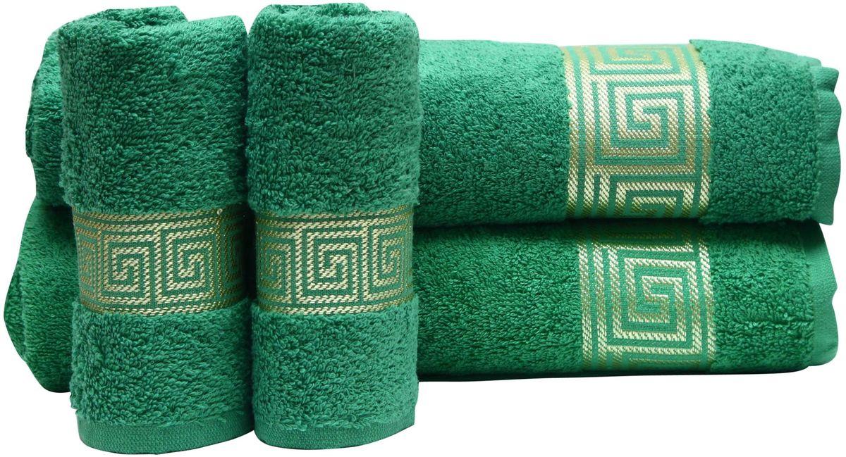 Набор полотенец Proffi Home, цвет: зеленый, 4 шт. PH8394PH8394_greenПри изготовлении махровых полотенец используется качественный 100 % хлопок. Махровые полотенца будут приятным добавлением в интерьере ванной комнаты. Мягкое махровое полотенце отлично впитывает влагу и быстро сохнет, детям приятно в него завернуться после принятия ванны или посещения сауны. Набор их 4 махровых полотенец разных размеров (70*140, 50*100, 30*50 - 2 шт) будет отличным подарком на любой праздник.
