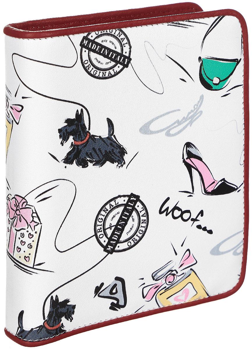 Визитница женская Curanni Сони, цвет: белый, красный. п106A16-11154_711Стильная визитница изготовлена из высококачественной кожи с оригинальным рисунком. Внутри: два сетчатых кармана, два открытых кармана, блок прозрачных кармашков для пластиковых карт.