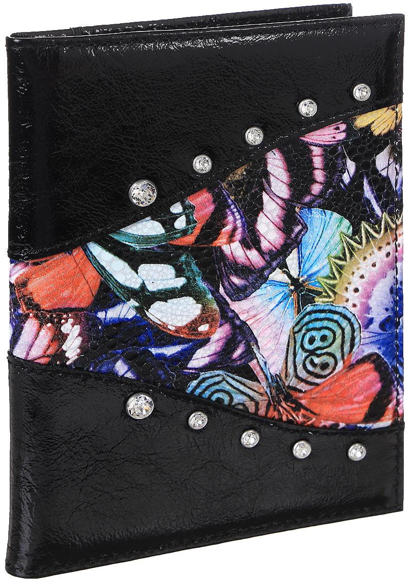 Бумажник водителя женский Butterfly, цвет: черный. EL-NK271-BV0013-000ICE 8508Бумажник водителя Elisir стандартного размера, из натуральной кожи. Внутри 4 кармана для кредиток и 2 открытых кармана из кожи. Упакован в подарочную коробку Elisir.