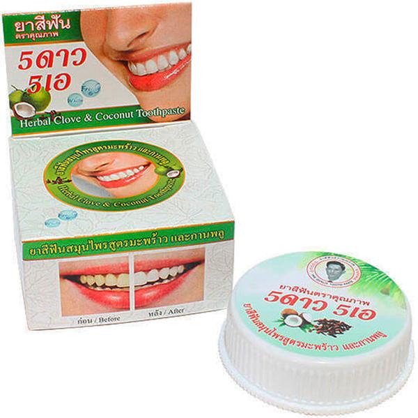 5 Star Cosmetic травяная отбеливающая зубная паста с экстрактом Кокоса5736492Экстракт кокоса повышает защитные функции организма, укрепляет десны и зубы, избавляет от болезней ротовой полости, снимает налет и зубной камень, устраняет запах изо рта уменьшает воспаление и кровоточивость десен. Очень экономична. Не содержит консервантов, фтор и его производных.