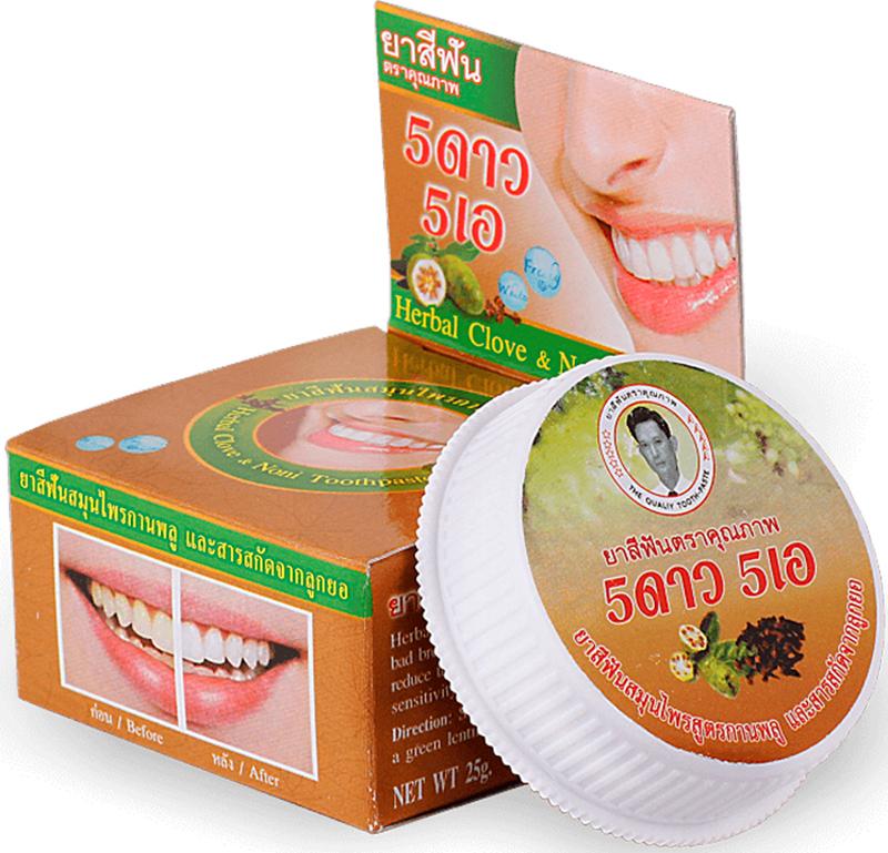 5 Star Cosmetic травяная отбеливающая зубная паста с экстрактом Нони5737257Нони обладает антибактериальным, противовоспалительным и болеутоляющим действиями. Зубная паста освежает дыхание и устраняет зубной налет, отбеливает, удаляет зубной камень, излечивает язвы в ротовой полости, уменьшает воспаление и кровоточивость десен. Оздоравливает полость рта. Подходит для чувствительных зубов. Очень экономична. Не содержит консервантов, фтор и его производных.