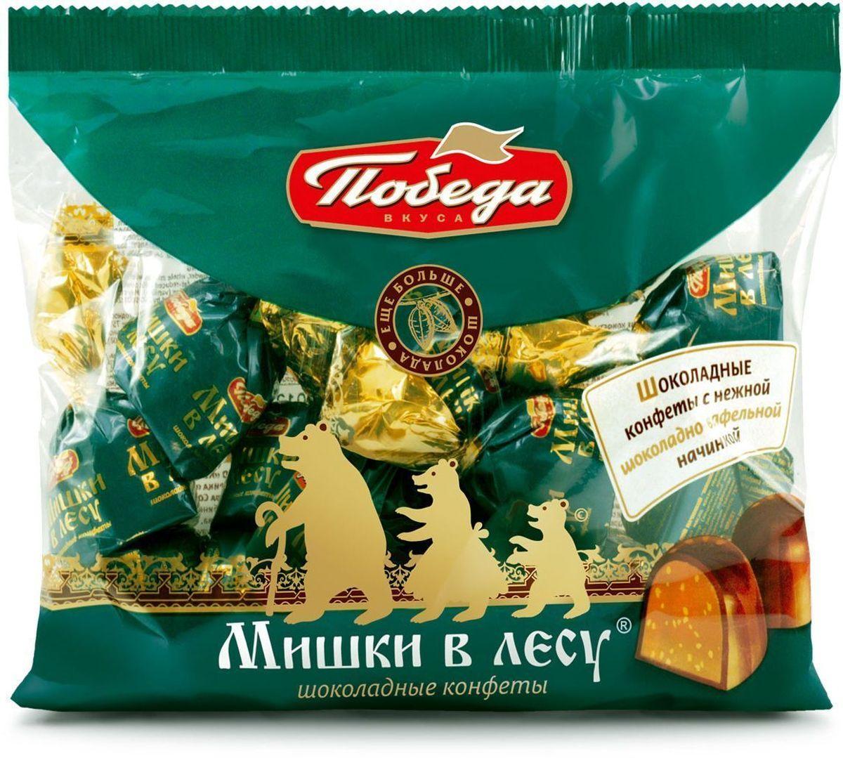 Победа вкуса Мишки в лесу шоколадные конфеты с шоколадно-вафельной начинкой, 250 г315-V1Гармоничная композиция с мягкой молочно-шоколадной начинкой, хрустящим криспом в окружении молочного шоколада. Для тех, кто ценит традиции и любит чаепитие в кругу семьи и друзей.
