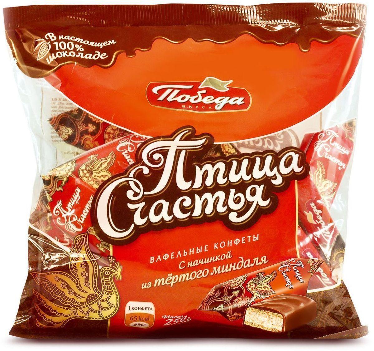 """Победа вкуса """"Птица счастья"""" вафельные конфеты с начинкой из тертого миндаля в сливочном шоколаде, 250 г 394-R1"""