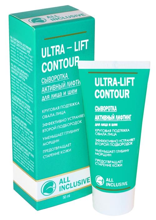 All Inclusive Сыворотка активный лифтинг для лица и шеи Ultra-Lift Contour, 50 мл200403Предотвращает старение кожи и появление морщин. Оказывает двойное действие - моментальное: возвращает коже гладкость и здоровый цвет, долговременное: высококонцентрированный комплекс растительных экстрактов способствует обновлению клеток эпидермиса и предотвращает старение. Уникальный состав морских водорослей (ламинарии и фукуса) буквально возрождает кожу, интенсивно насыщая ее незаменимыми витаминами, макро- и микроэлементами. Коллаген и витамин Е укрепляют и корректируют контур лица, сохраняют упругость и эластичность кожи, омолаживают и обновляют ее, замедляя процесс старения. Зеленый чай и гесперидин разглаживают морщины, подтягивают кожу, активно повышая ее тонус за счет улучшения микроциркуляции крови.