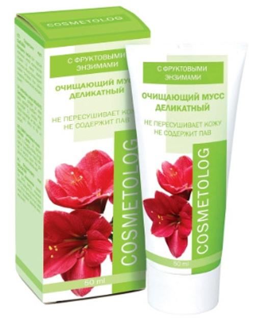 Cosmetolog Очищающий мусс Деликатный с фруктовыми энзимами, 50 мл300301Разработан на основе фруктовых энзимов с ультрамягкими моющими свойствами. Не содержит синтетических ПАВ, не раздражает и не пересушивает кожу. Деликатно и тщательно очищает кожу любого типа от поверхностных загрязнений и макияжа (в том числе с глаз), удаляет продукты метаболизма, токсины и излишки кожного сала, сохраняя оптимальный уровень увлажненности. Не образует пены. Зеленый чай – мощный антиоксидант, тонизирует кожу, придает упругость и эластичность, предупреждает преждевременное старение, оказывает освежающее и защитное действие. Мусс заметно смягчает негативное действие на кожу жесткой и хлорированной воды.
