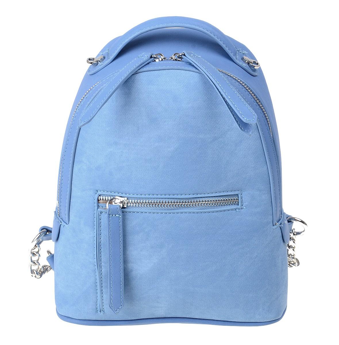 Рюкзак женский Dispacci, цвет: голубой. 32599BP-001 BKМодели итальянского бренда Dispacci совмещают в себе стиль, практичность и безукоризненное качество изготовления. Чтобы ваш рюкзак сумка всегда оставался в целости и выглядел как новый, дизайнеры Dispacci продумали его конструкцию до мельчайших деталей. Вся фурнитура, пряжки, замки и молнии сделаны из металла, а места креплений лямок и верхней ручки прошиты крепкими нитками. Мы предлагаем очень практичную модель с вместительным центральным отделением и наружным карманом, который закрывается на молнию. Для удобства открывания все замки снабжены стильными цифрами из экокожи. Рюкзак в комплекте с широким ремнем декорированным цветочками из экокожи в цвет изделия. Высота ручки 5 см.
