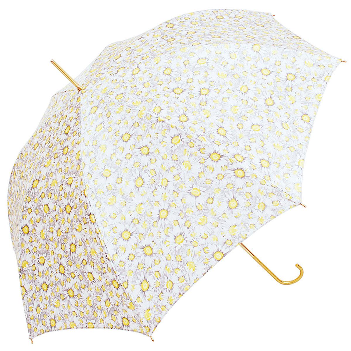 Зонт-трость женский Stilla, цвет: белый, желтый. 651 auto3.7-12 navyЗонт-трость Stilla надежно защитит вас от дождя. Купол, оформленный оригинальным принтом, выполнен из высококачественного ПВХ, который не пропускает воду.Каркас зонта и спицы выполнены из высококарбонистой стали. Зонт имеет автоматический тип сложения: открывается и закрывается при нажатии на кнопку. Удобная ручка выполнена из пластика.